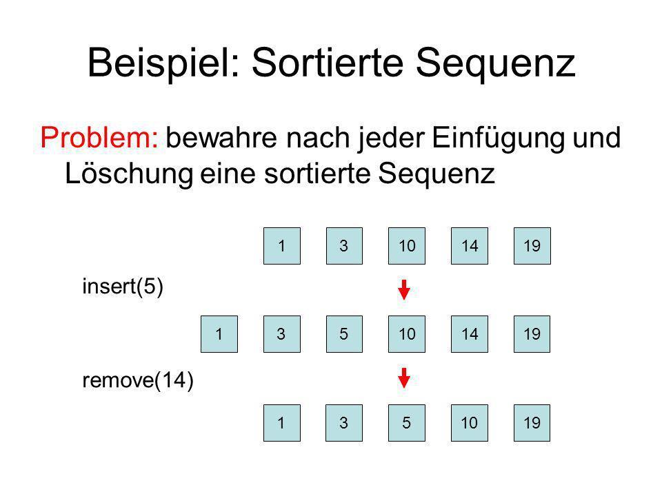 Beispiel: Sortierte Sequenz Problem: bewahre nach jeder Einfügung und Löschung eine sortierte Sequenz 13101419 insert(5) 131014195 remove(14) 1310195