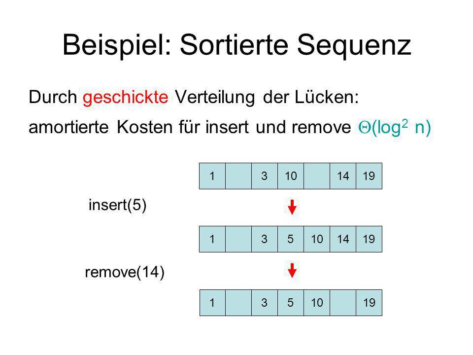 Beispiel: Sortierte Sequenz Durch geschickte Verteilung der Lücken: amortierte Kosten für insert und remove (log 2 n) 13101419 insert(5) remove(14) 13