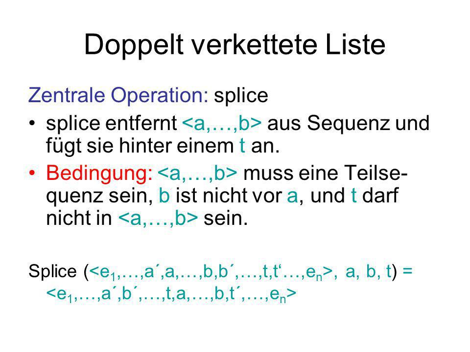 Doppelt verkettete Liste Procedure splice(a,b,t: Handle) // schneide heraus a´ := a!prev b´ := b!next a´!next := b´ b´!prev := a´ // füge hinter t ein t´ := t!next b!next := t´ a!prev := t t!next := a t´!prev := b … … … … a´abb´ … … tabt´ … …