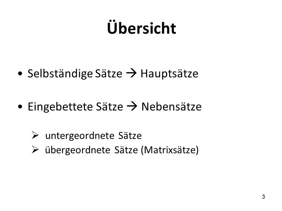 3 Übersicht Selbständige Sätze Hauptsätze Eingebettete Sätze Nebensätze untergeordnete Sätze übergeordnete Sätze (Matrixsätze)