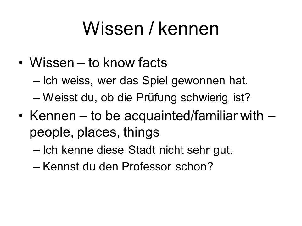 Wechselpräpositionen (2-way prepositions) Accusative when motion (to a destination) –Wohin.