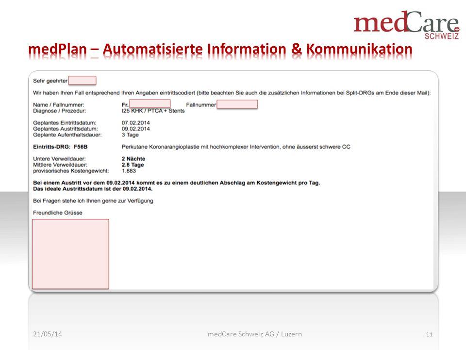 21/05/14 11 medCare Schweiz AG / Luzern