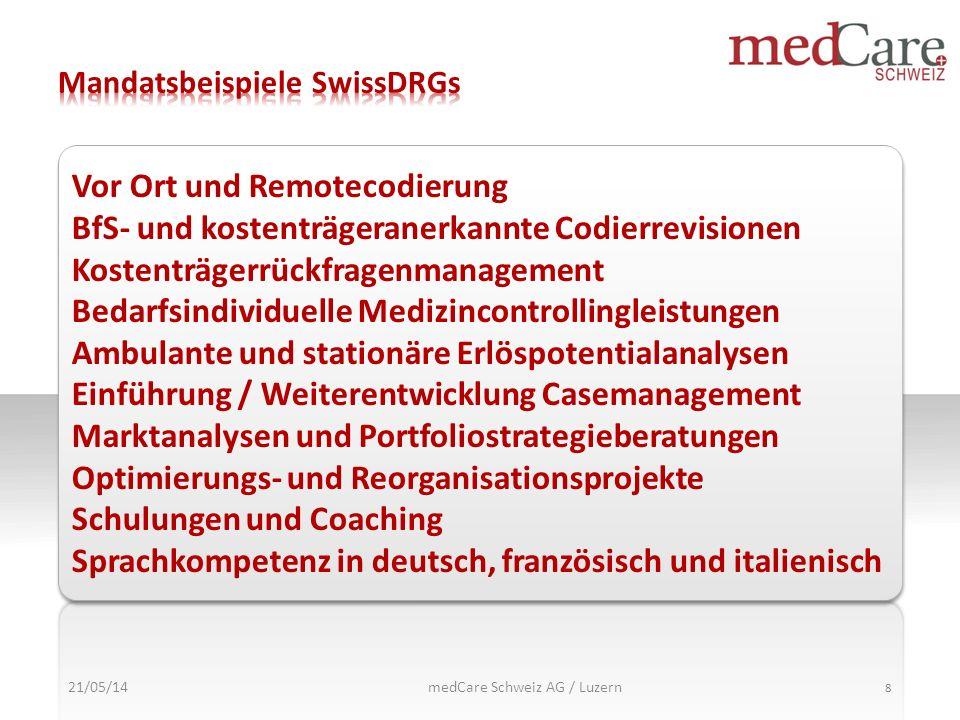 21/05/14 8 Vor Ort und Remotecodierung BfS- und kostenträgeranerkannte Codierrevisionen Kostenträgerrückfragenmanagement Bedarfsindividuelle Medizinco