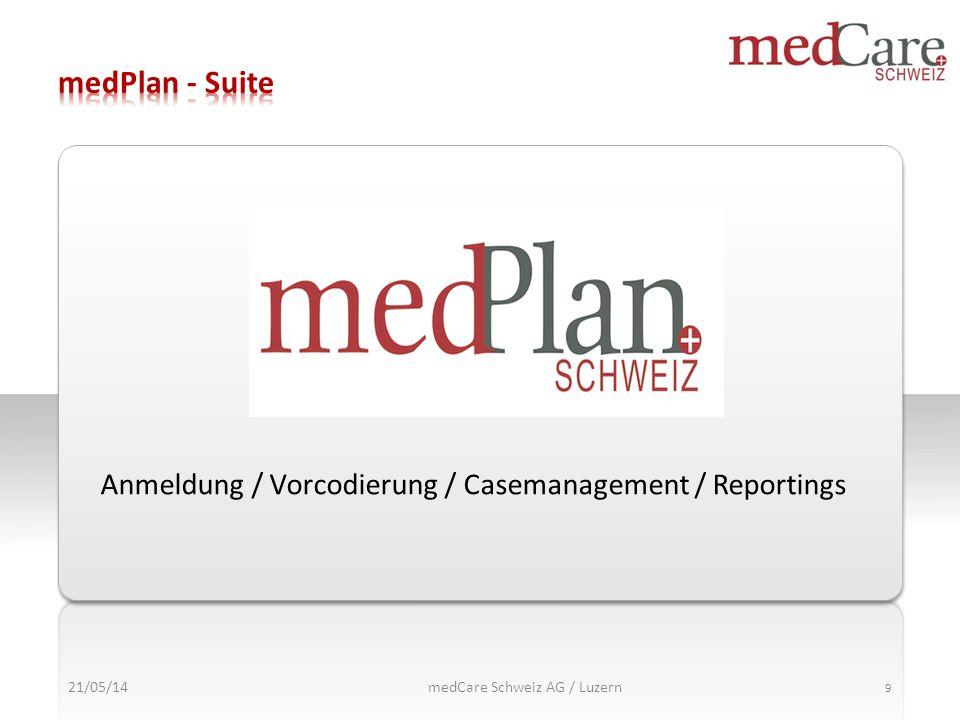 21/05/14 9 Anmeldung / Vorcodierung / Casemanagement / Reportings medCare Schweiz AG / Luzern