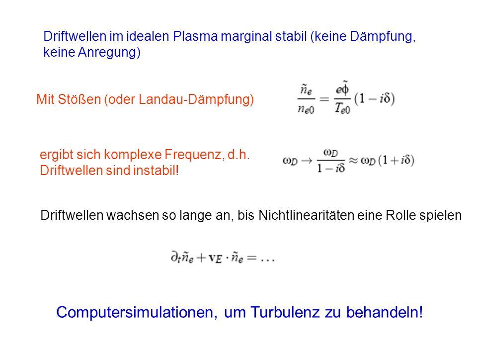 Driftwellen im idealen Plasma marginal stabil (keine Dämpfung, keine Anregung) Mit Stößen (oder Landau-Dämpfung) ergibt sich komplexe Frequenz, d.h. D