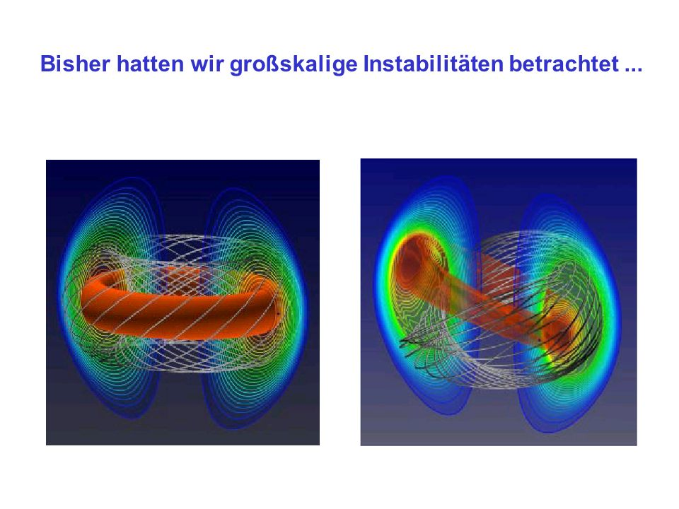 Teilchenbewegung in starken Magnetfeldern (r g /L<< 1) Bewegung in homogenem Feld: freíe Bewegung entlang der Feldlinien Gyration um Feldlinien Driften in inhomogenem Feld oder Kräfte zum Magnetfeld): B v D = F x B q B 2 v D 10 -3 v th Magnetic field electron ion