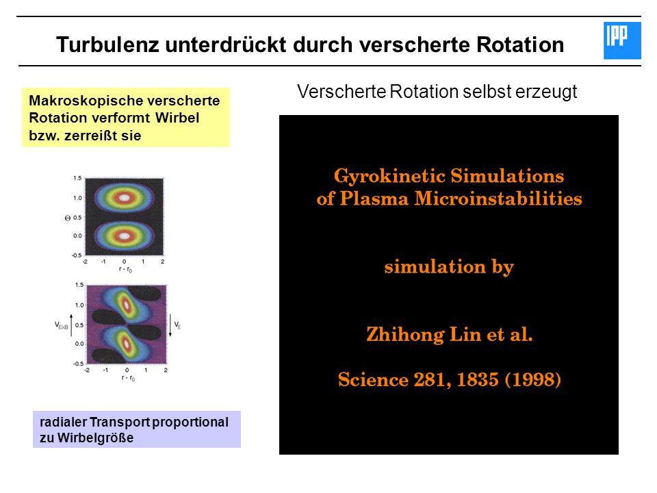 Turbulenz unterdrückt durch verscherte Rotation Makroskopische verscherte Rotation verformt Wirbel bzw. zerreißt sie radialer Transport proportional z