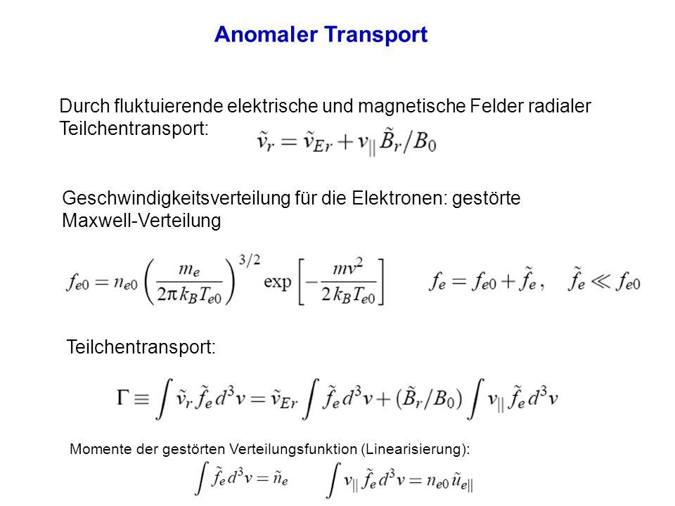Anomaler Transport Momente der gestörten Verteilungsfunktion (Linearisierung): Teilchentransport durch fluktuierende Felder nur bei entsprechender Phasenbeziehung zwischen Dichte- und Potentialstörung: Wärmefluss (durch Elektronen getragen):
