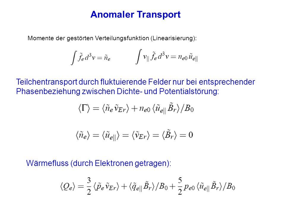 Anomaler Transport Momente der gestörten Verteilungsfunktion (Linearisierung): Teilchentransport durch fluktuierende Felder nur bei entsprechender Pha