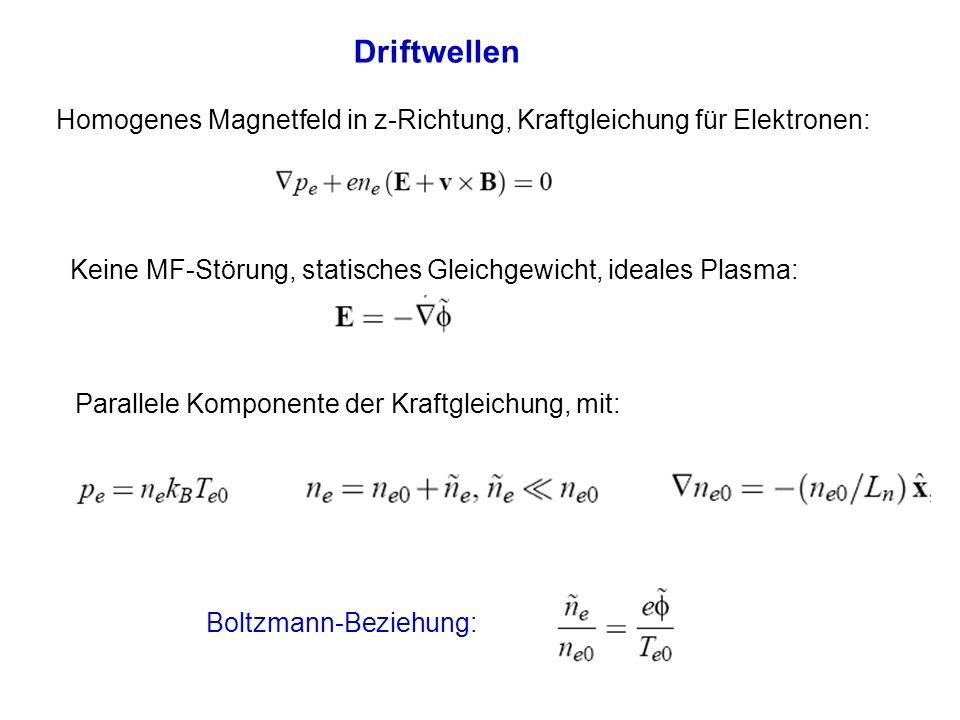 Driftwellen Homogenes Magnetfeld in z-Richtung, Kraftgleichung für Elektronen: Keine MF-Störung, statisches Gleichgewicht, ideales Plasma: Boltzmann-B