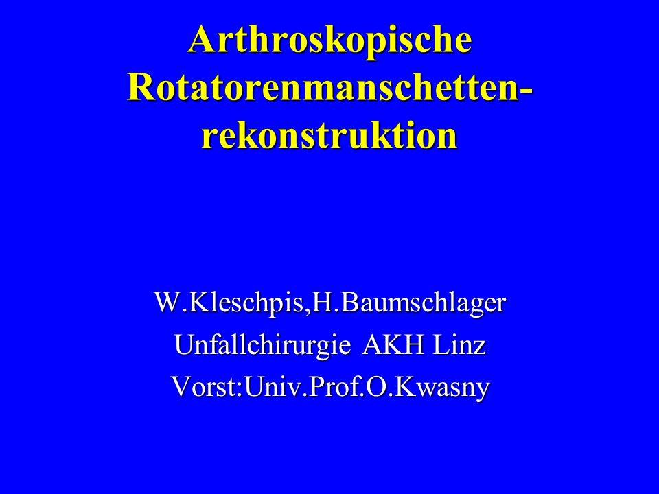 Einführung Wandel der operative Behandlung der Rotatorenmanschettenrisse vonWandel der operative Behandlung der Rotatorenmanschettenrisse von offene Rekonstruktion -->offene Rekonstruktion --> kombiniertes Vorgehen arthroskopisch und offen(= mini-open) -->kombiniertes Vorgehen arthroskopisch und offen(= mini-open) --> rein arthroskopische Refixation,Nahtrein arthroskopische Refixation,Naht