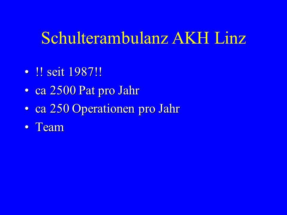 Schulterambulanz AKH Linz !! seit 1987!!!! seit 1987!! ca 2500 Pat pro Jahrca 2500 Pat pro Jahr ca 250 Operationen pro Jahrca 250 Operationen pro Jahr