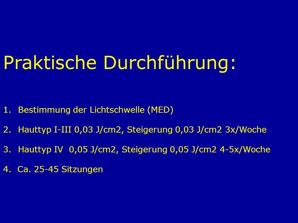 Praktische Durchführung: 1.Bestimmung der Lichtschwelle (MED) 2.Hauttyp I-III 0,03 J/cm2, Steigerung 0,03 J/cm2 3x/Woche 3.Hauttyp IV 0,05 J/cm2, Stei