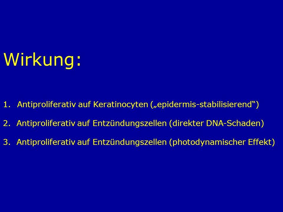 Wirkung: 1.Antiproliferativ auf Keratinocyten (epidermis-stabilisierend) 2. Antiproliferativ auf Entzündungszellen (direkter DNA-Schaden) 3. Antiproli