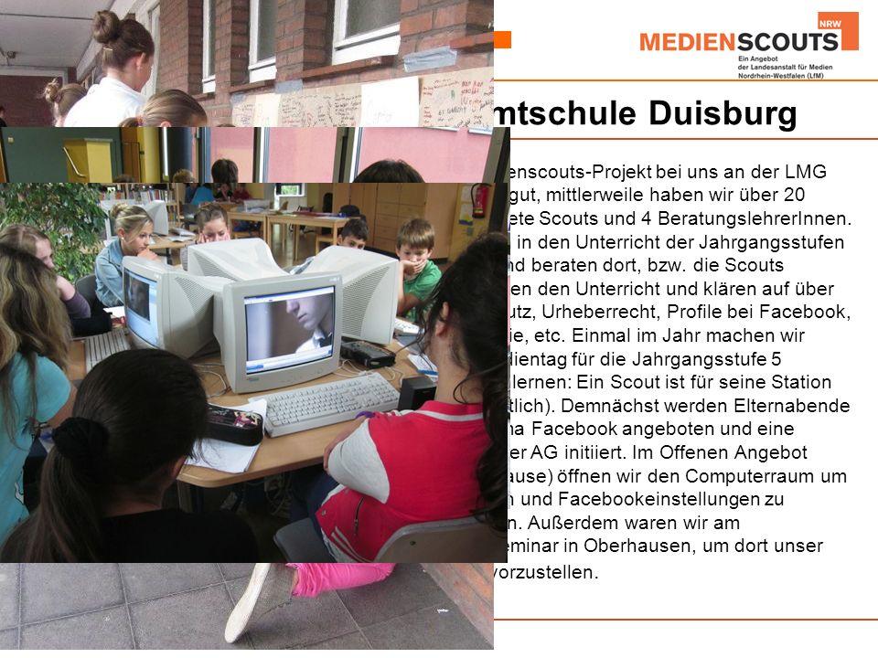 Beispiel: Lise-Meitner-Gesamtschule Duisburg Das Medienscouts-Projekt bei uns an der LMG läuft sehr gut, mittlerweile haben wir über 20 ausgebildete Scouts und 4 BeratungslehrerInnen.