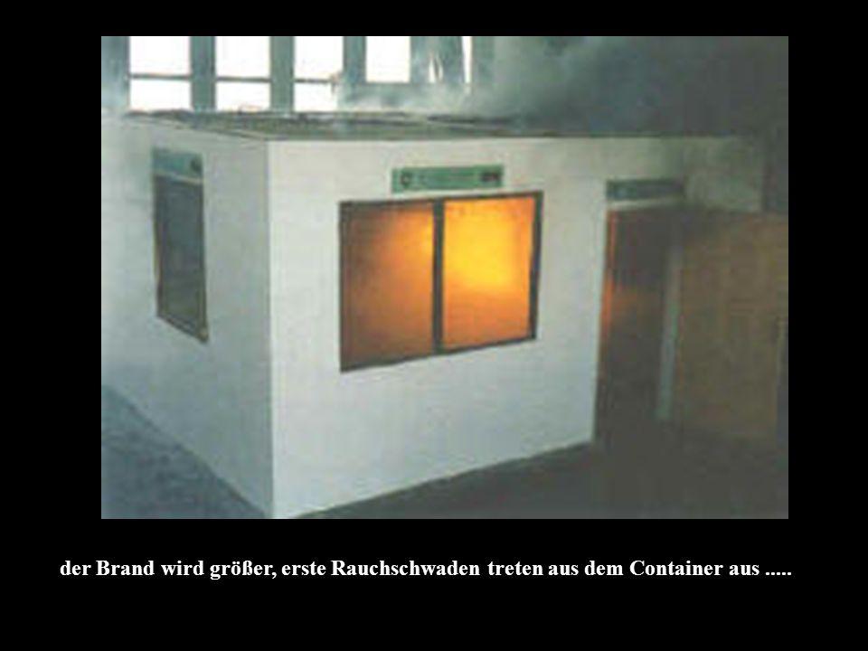 der Brand wird größer, erste Rauchschwaden treten aus dem Container aus.....