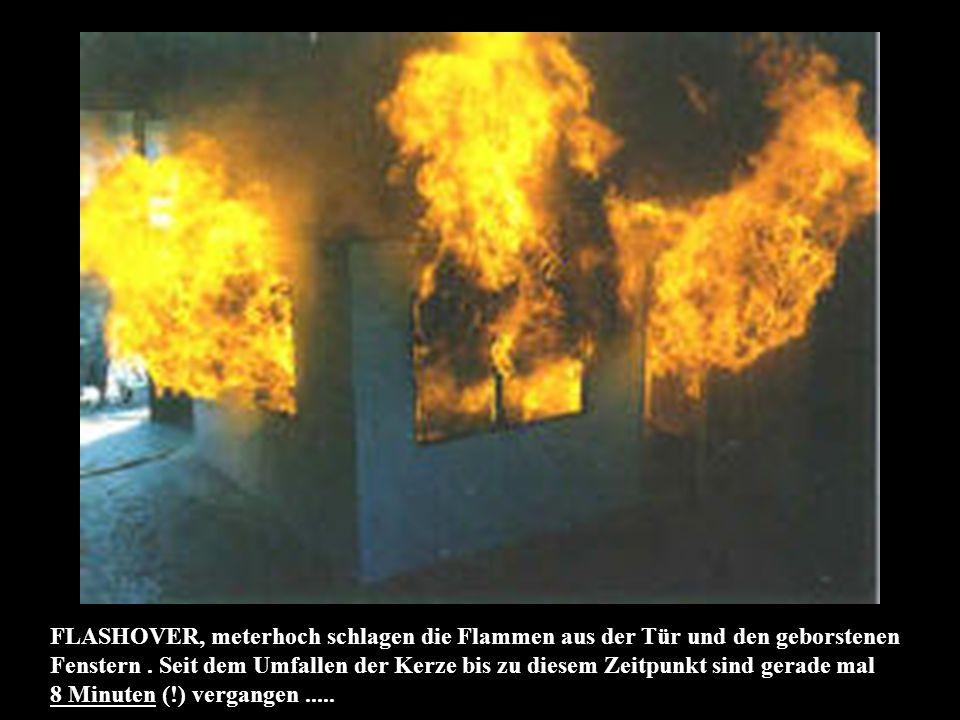 FLASHOVER, meterhoch schlagen die Flammen aus der Tür und den geborstenen Fenstern.