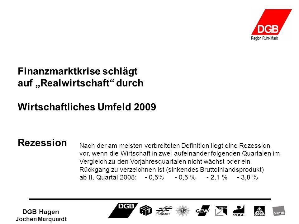 DGB Hagen Jochen Marquardt Finanzmarktkrise schlägt auf Realwirtschaft durch Wirtschaftliches Umfeld 2009 Rezession Nach der am meisten verbreiteten D
