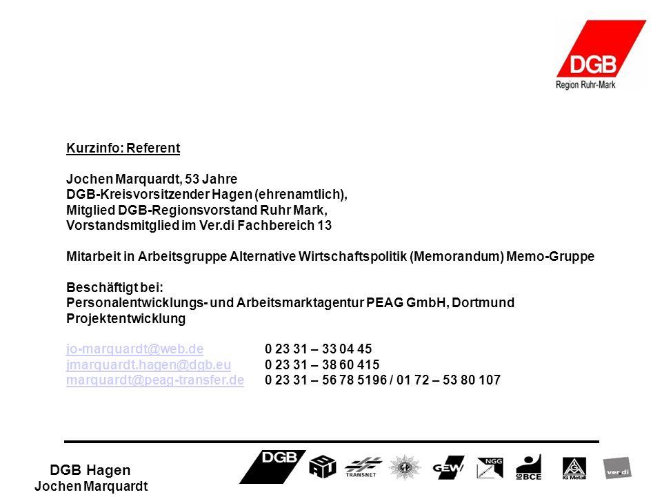 DGB Hagen Jochen Marquardt Kurzinfo: Referent Jochen Marquardt, 53 Jahre DGB-Kreisvorsitzender Hagen (ehrenamtlich), Mitglied DGB-Regionsvorstand Ruhr