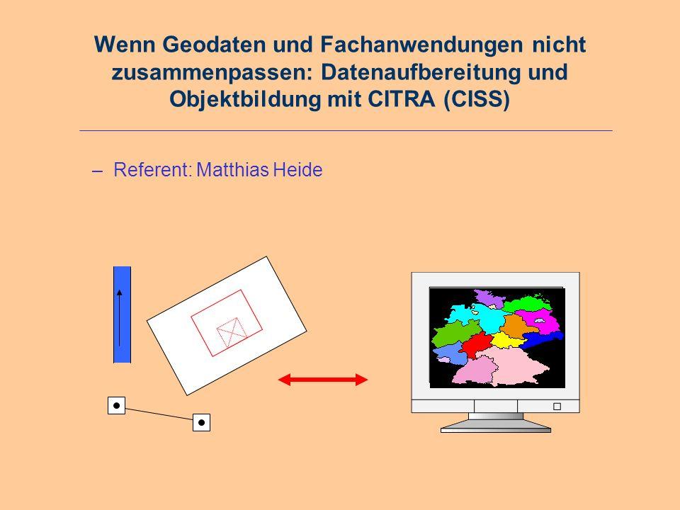 Modellierung Sachdaten (Umbenennung von Feldern...) Geometrie (Umwandlung von Primitiven...) Flächenbearbeitung Herstellen von Beziehungen Objekte modifizieren (trennen, verschmelzen...) Bach Beispiel: