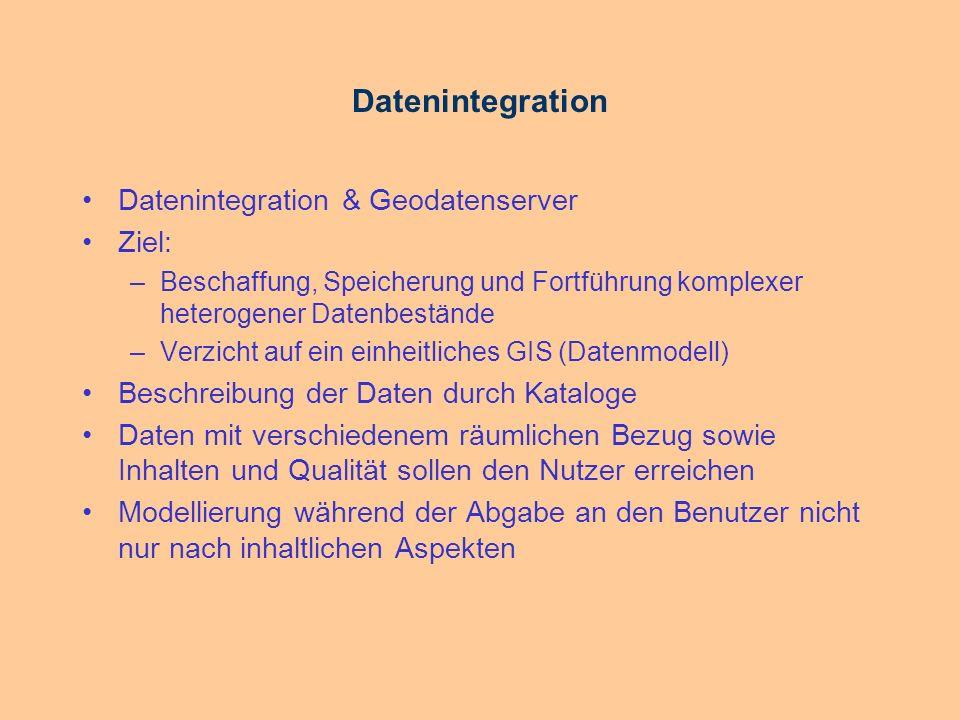 Datenintegration Vorteil: Redundanzfreiheit Nachteil: Schnelligkeit insbesondere in Netzwerken Performance-Schwierigkeiten Anwendung im Intra- und Internet vom GIS unabhängige Speicherung der Daten durch entsprechende Geodatenbankverwaltungssoftware bereits im Angebot