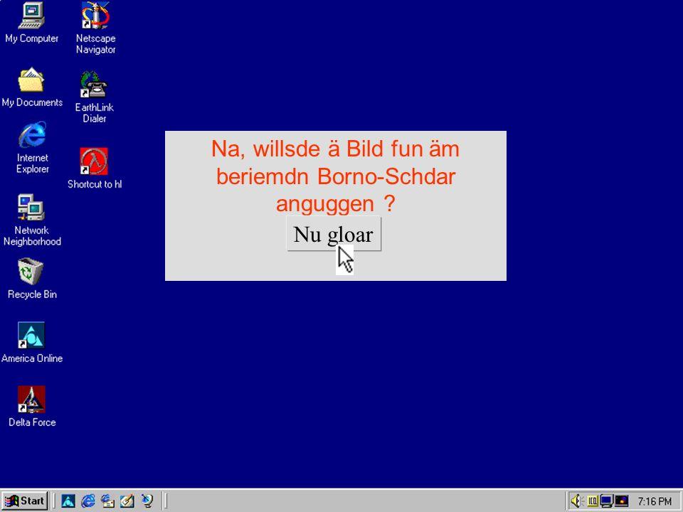 Na, willsde ä Bild fun äm beriemdn Borno-Schdar anguggen ? Nu gloar