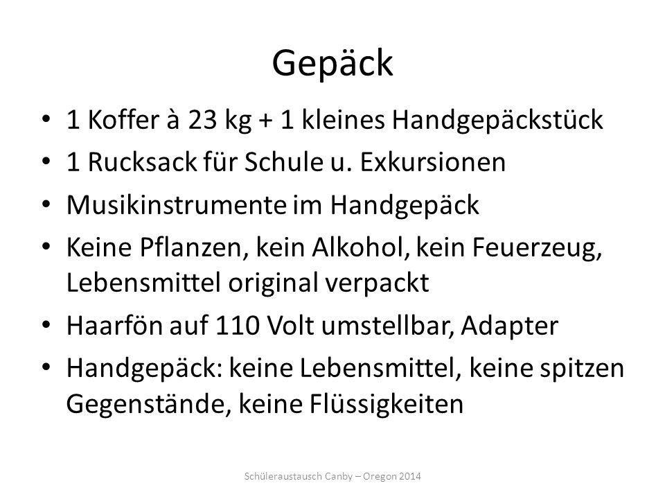 Gepäck 1 Koffer à 23 kg + 1 kleines Handgepäckstück 1 Rucksack für Schule u. Exkursionen Musikinstrumente im Handgepäck Keine Pflanzen, kein Alkohol,