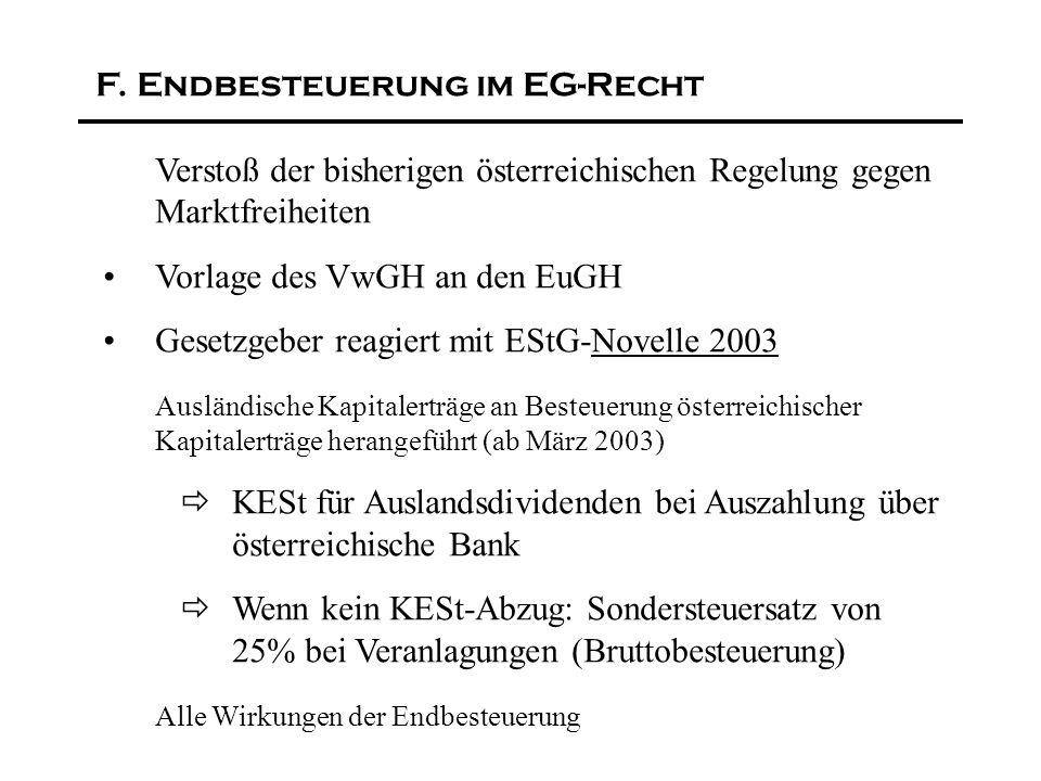 F. Endbesteuerung im EG-Recht Verstoß der bisherigen österreichischen Regelung gegen Marktfreiheiten Vorlage des VwGH an den EuGH Gesetzgeber reagiert