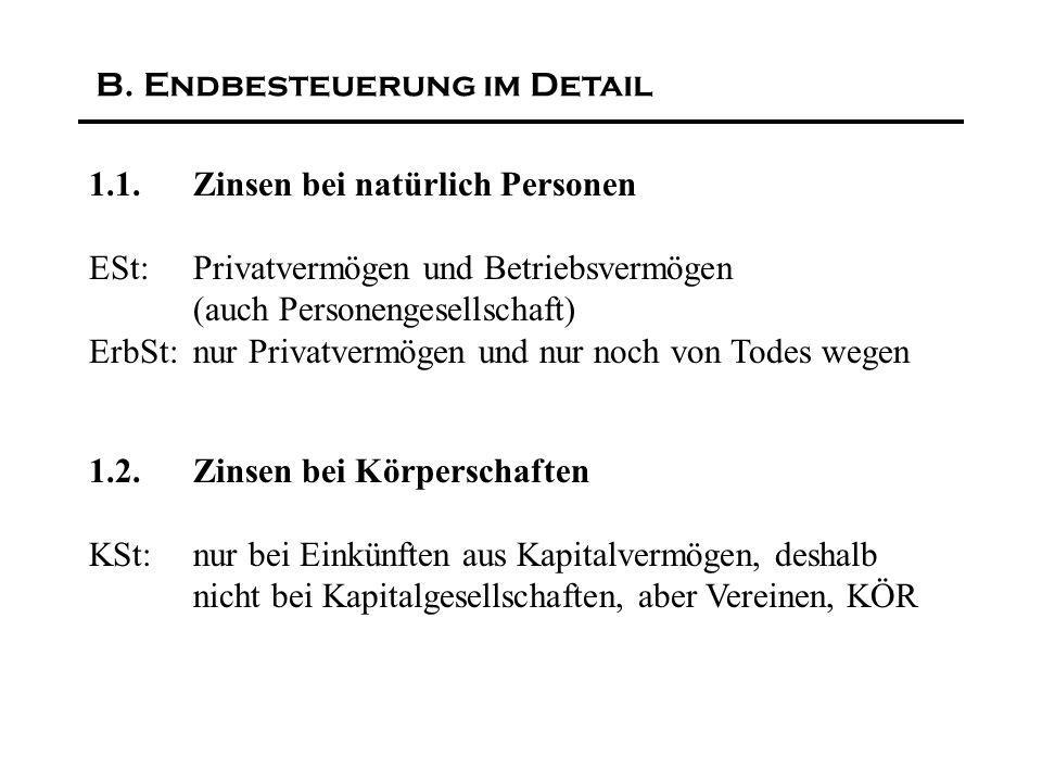 Zinsen-Richtlinie der EG zu Kapitalveranlagungen an andere Mitgliedsstaaten (beschränkt Steuerpflichtige) Für Österreich/Belgien/Luxemburg: Kein automatischer Informationsaustausch für lange Übergangszeit, sondern Quellensteuer (15%, 20%, 35%) F.