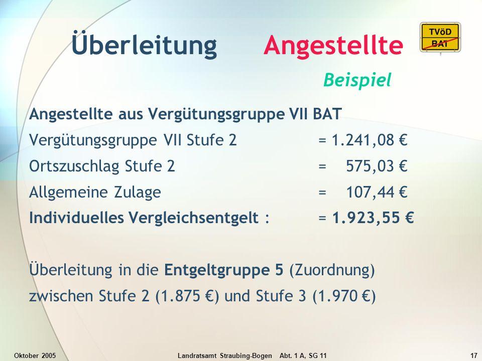 Oktober 2005Landratsamt Straubing-Bogen Abt. 1 A, SG 1117 Überleitung Angestellte Beispiel Angestellte aus Vergütungsgruppe VII BAT Vergütungsgruppe V