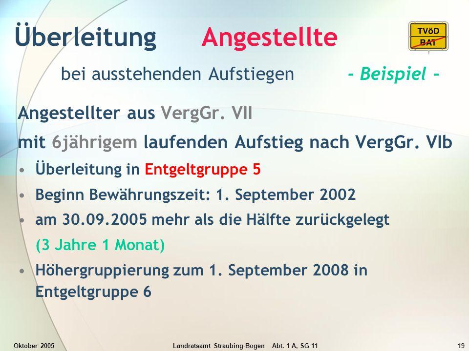 Oktober 2005Landratsamt Straubing-Bogen Abt. 1 A, SG 1119 Überleitung Angestellte bei ausstehenden Aufstiegen - Beispiel - Angestellter aus VergGr. VI
