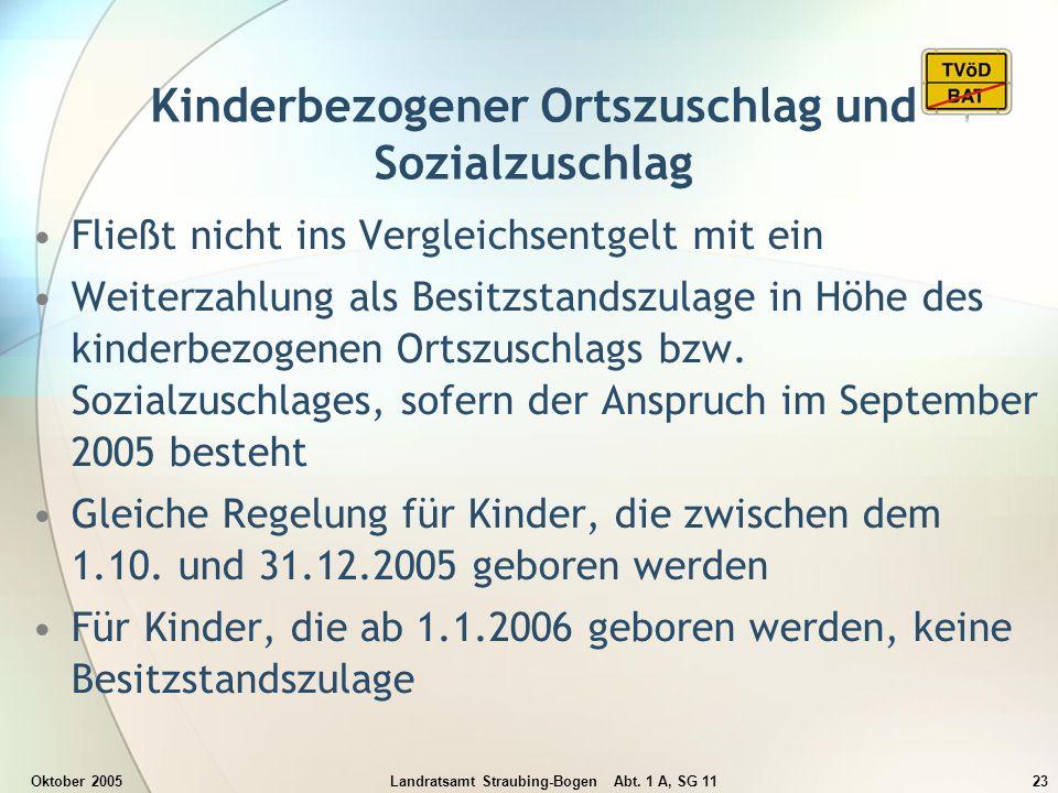 Oktober 2005Landratsamt Straubing-Bogen Abt. 1 A, SG 1123 Kinderbezogener Ortszuschlag und Sozialzuschlag Fließt nicht ins Vergleichsentgelt mit ein W