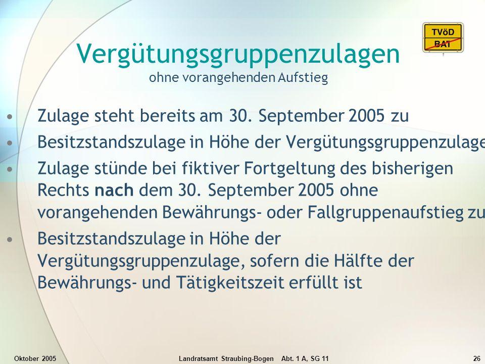 Oktober 2005Landratsamt Straubing-Bogen Abt. 1 A, SG 1126 Vergütungsgruppenzulagen ohne vorangehenden Aufstieg Zulage steht bereits am 30. September 2