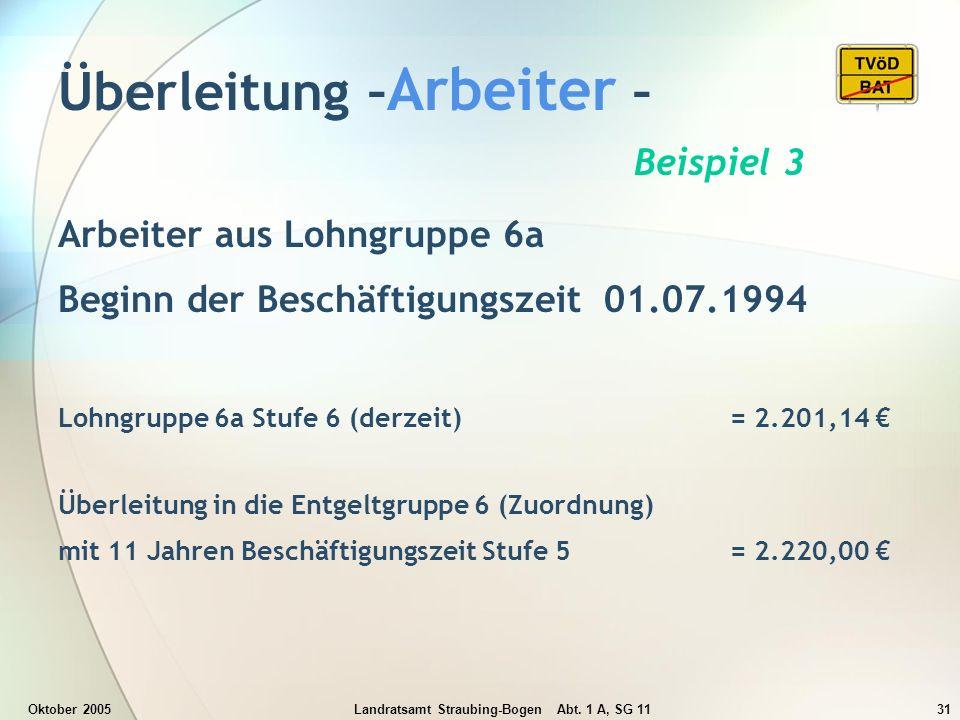 Oktober 2005Landratsamt Straubing-Bogen Abt. 1 A, SG 1131 Überleitung – Arbeiter – Beispiel 3 Arbeiter aus Lohngruppe 6a Beginn der Beschäftigungszeit