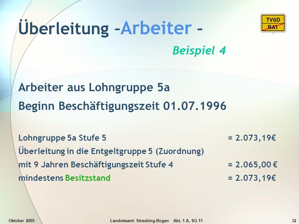 Oktober 2005Landratsamt Straubing-Bogen Abt. 1 A, SG 1132 Überleitung – Arbeiter – Beispiel 4 Arbeiter aus Lohngruppe 5a Beginn Beschäftigungszeit 01.