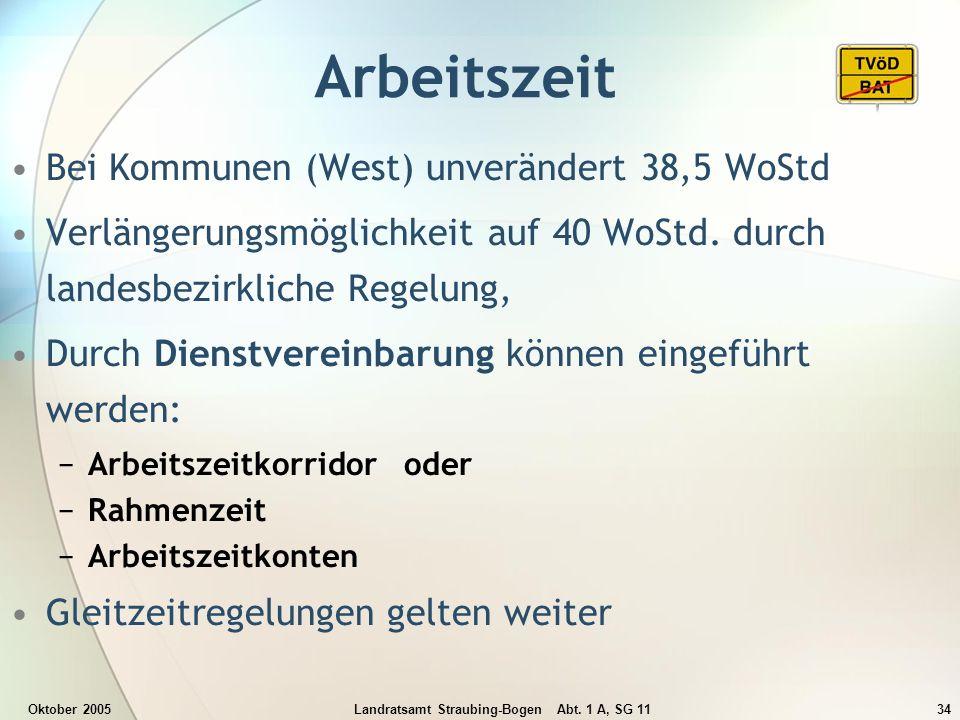 Oktober 2005Landratsamt Straubing-Bogen Abt. 1 A, SG 1134 Arbeitszeit Bei Kommunen (West) unverändert 38,5 WoStd Verlängerungsmöglichkeit auf 40 WoStd
