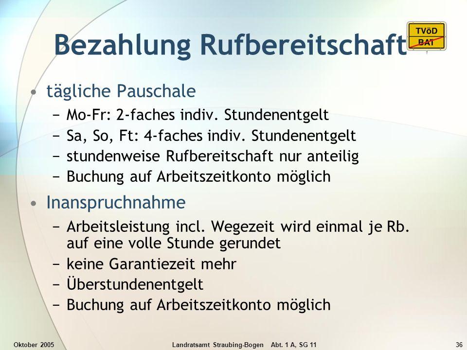 Oktober 2005Landratsamt Straubing-Bogen Abt. 1 A, SG 1136 Bezahlung Rufbereitschaft tägliche Pauschale Mo-Fr: 2-faches indiv. Stundenentgelt Sa, So, F