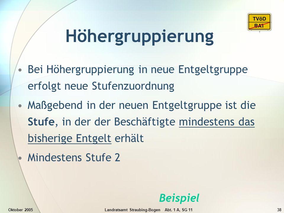 Oktober 2005Landratsamt Straubing-Bogen Abt. 1 A, SG 1138 Höhergruppierung Bei Höhergruppierung in neue Entgeltgruppe erfolgt neue Stufenzuordnung Maß