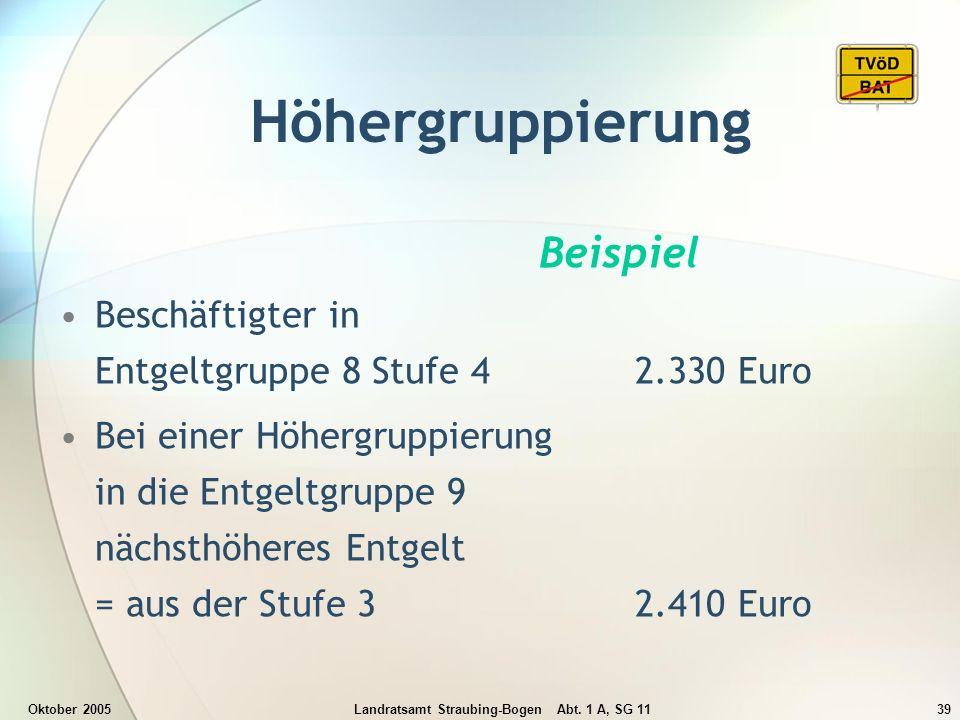 Oktober 2005Landratsamt Straubing-Bogen Abt. 1 A, SG 1139 Höhergruppierung Beispiel Beschäftigter in Entgeltgruppe 8 Stufe 4 2.330 Euro Bei einer Höhe