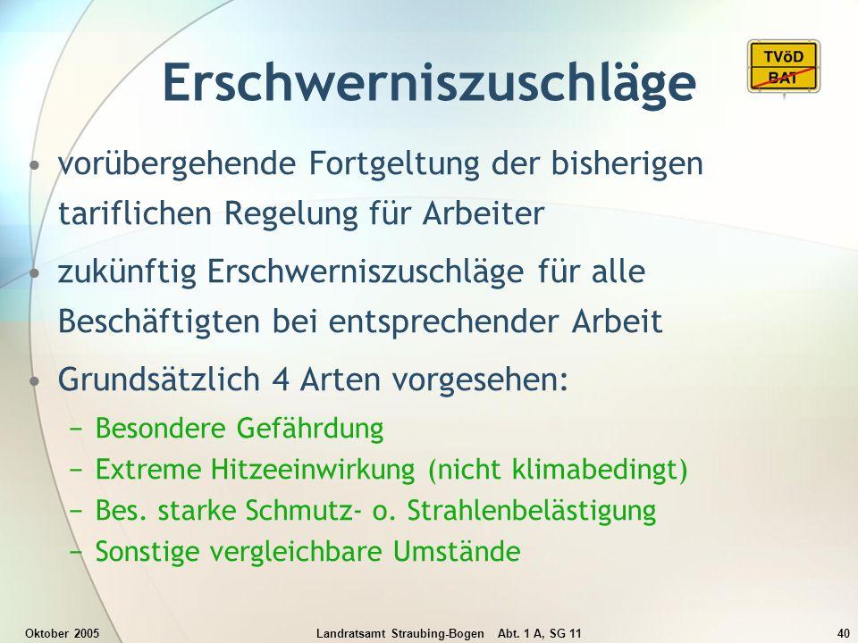Oktober 2005Landratsamt Straubing-Bogen Abt. 1 A, SG 1140 Erschwerniszuschläge vorübergehende Fortgeltung der bisherigen tariflichen Regelung für Arbe