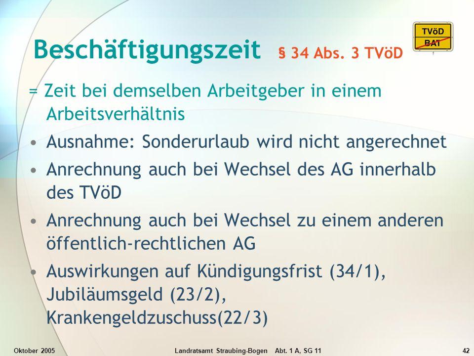 Oktober 2005Landratsamt Straubing-Bogen Abt. 1 A, SG 1142 Beschäftigungszeit § 34 Abs. 3 TVöD = Zeit bei demselben Arbeitgeber in einem Arbeitsverhält