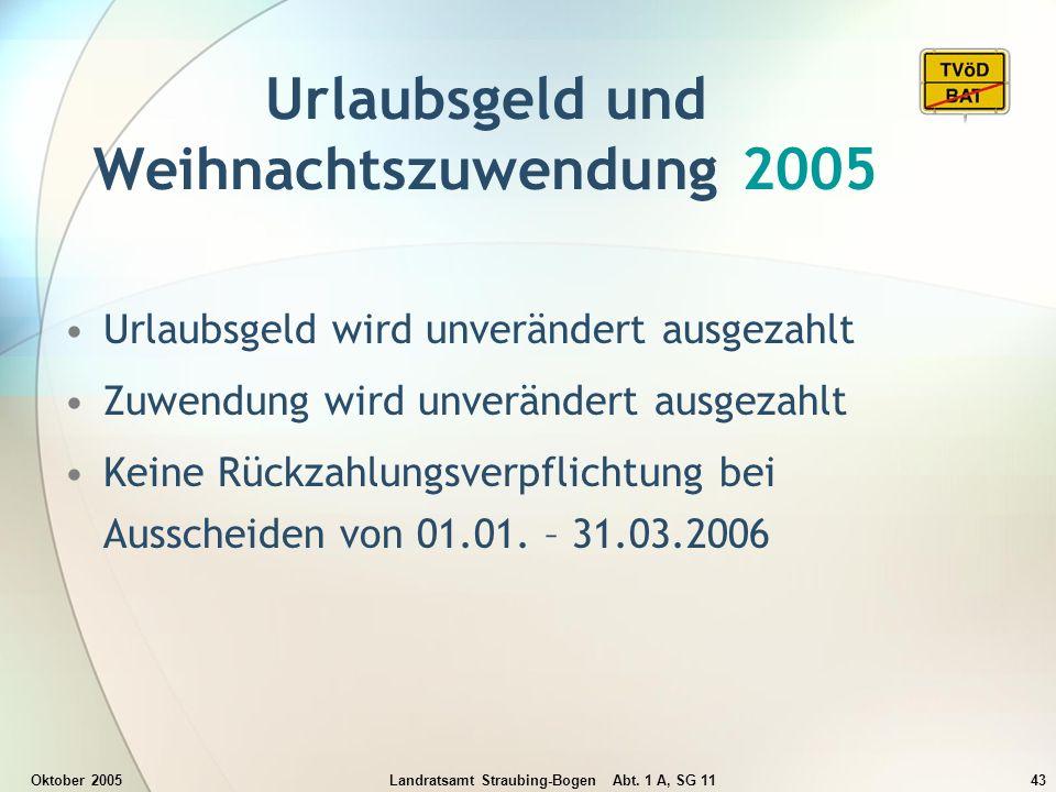 Oktober 2005Landratsamt Straubing-Bogen Abt. 1 A, SG 1143 Urlaubsgeld und Weihnachtszuwendung 2005 Urlaubsgeld wird unverändert ausgezahlt Zuwendung w