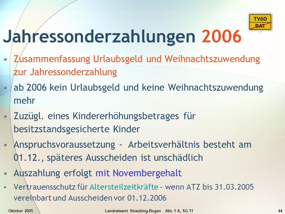 Oktober 2005Landratsamt Straubing-Bogen Abt. 1 A, SG 1144 Jahressonderzahlungen 2006 Zusammenfassung Urlaubsgeld und Weihnachtszuwendung zur Jahresson