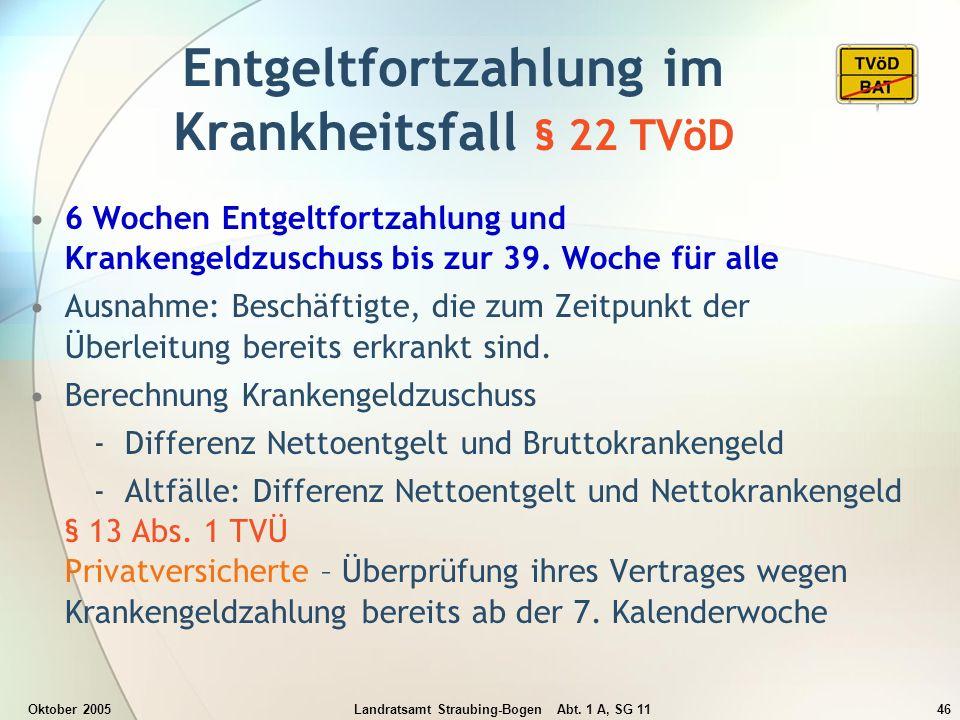 Oktober 2005Landratsamt Straubing-Bogen Abt. 1 A, SG 1146 Entgeltfortzahlung im Krankheitsfall § 22 TVöD 6 Wochen Entgeltfortzahlung und Krankengeldzu
