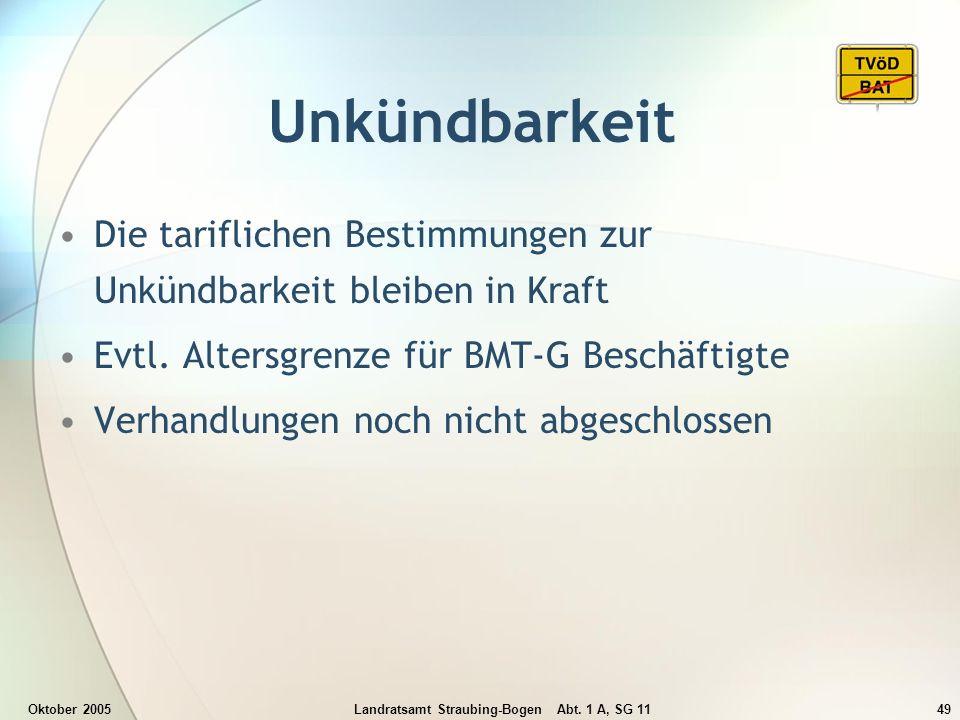 Oktober 2005Landratsamt Straubing-Bogen Abt. 1 A, SG 1149 Unkündbarkeit Die tariflichen Bestimmungen zur Unkündbarkeit bleiben in Kraft Evtl. Altersgr