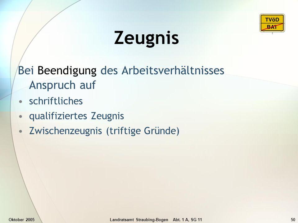Oktober 2005Landratsamt Straubing-Bogen Abt. 1 A, SG 1150 Zeugnis Bei Beendigung des Arbeitsverhältnisses Anspruch auf schriftliches qualifiziertes Ze