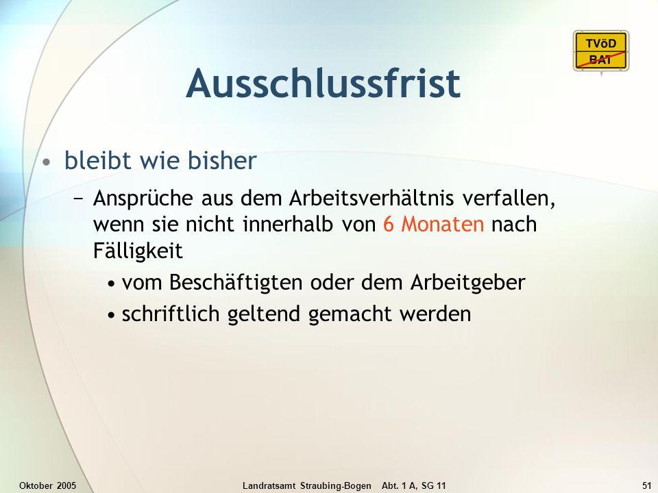 Oktober 2005Landratsamt Straubing-Bogen Abt. 1 A, SG 1151 Ausschlussfrist bleibt wie bisher Ansprüche aus dem Arbeitsverhältnis verfallen, wenn sie ni