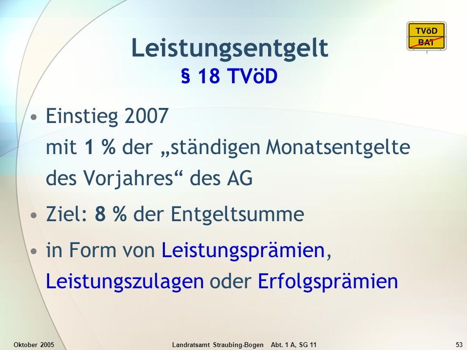 Oktober 2005Landratsamt Straubing-Bogen Abt. 1 A, SG 1153 Einstieg 2007 mit 1 % der ständigen Monatsentgelte des Vorjahres des AG Ziel: 8 % der Entgel