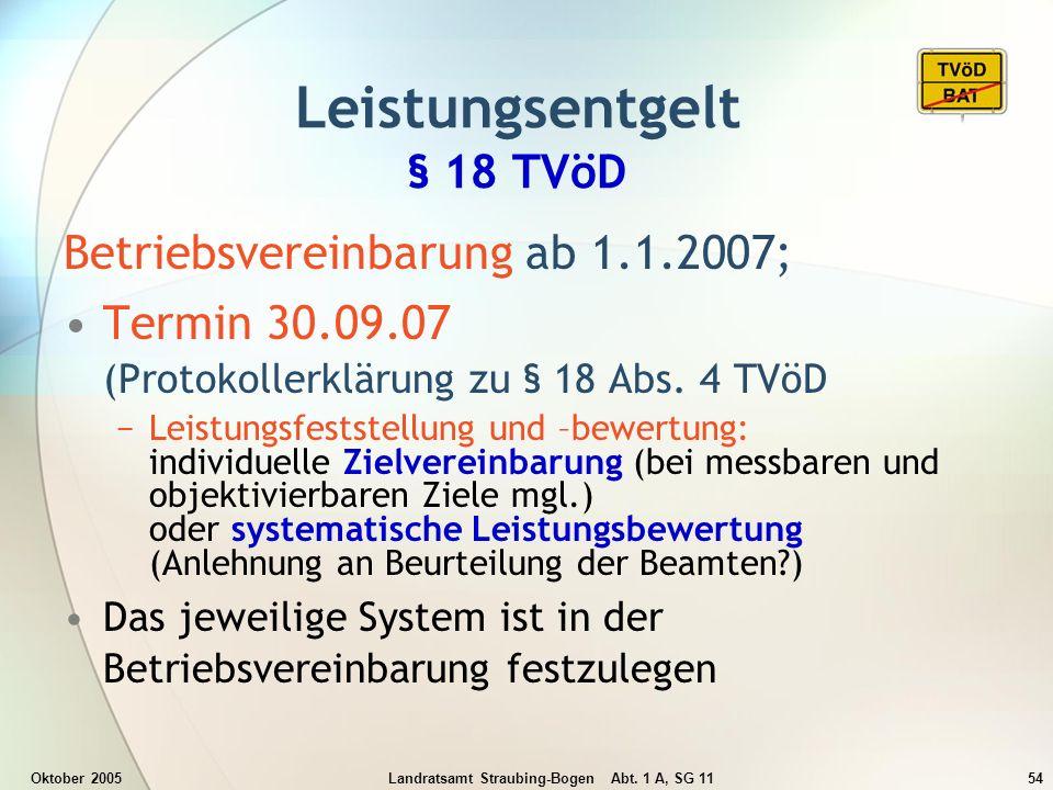 Oktober 2005Landratsamt Straubing-Bogen Abt. 1 A, SG 1154 Betriebsvereinbarung ab 1.1.2007; Termin 30.09.07 (Protokollerklärung zu § 18 Abs. 4 TVöD Le