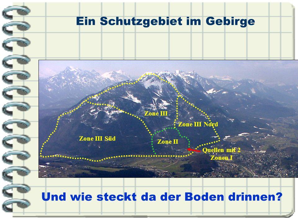 Ein Schutzgebiet im Gebirge Und wie steckt da der Boden drinnen? Quellen mit 2 Zonen I Zone III Nord Zone III Zone II Zone III Süd